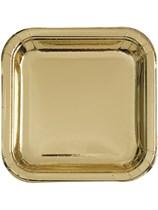 "Foil Gold 9"" Square Paper Plates 8pk"