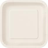 """Ivory 7"""" Square Paper Plates 16pk"""