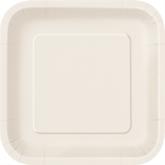 """Ivory 9"""" Square Paper Plates 14pk"""