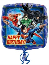 """Justice League Happy Birthday 18"""" Square Foil Balloon"""