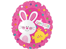 """Happy Easter Bunny & Chick 20"""" Foil Balloon"""