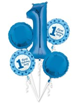First Birthday Boy Foil Balloon Bouquet 5pc