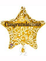 "Gold Congratulations Star Shaped 18"" Foil Balloon"