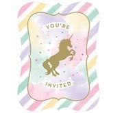 Unicorn Sparkle Postcard Invitations & Envelopes 8pk