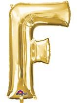 """34"""" Gold Letter F Foil Balloon"""