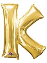 """34"""" Gold Letter K Foil Balloon"""