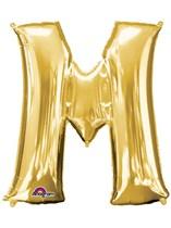 "34"" Gold Letter M Foil Balloon"