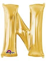 """34"""" Gold Letter N Foil Balloon"""