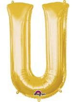 "34"" Gold Letter U Foil Balloon"