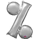 "34"" Silver Percentage % Symbol Foil Balloon"