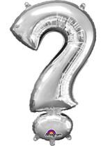"34"" Silver Question Mark Symbol Foil Balloon"