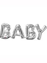 """Silver Baby 26"""" Air Fill Shape Foil Balloon"""