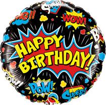 "Happy Birthday Super Hero Black 18"" Foil Balloon"