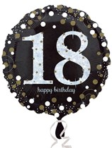 "18th Birthday Black & Gold Celebration 18"" Foil Balloon"