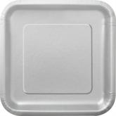 "Silver 9"" Square Paper Plates 14pk"