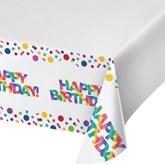 Rainbow Plastic Tablecover Happy Birthday
