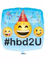 "Happy Birthday 2 U Emoji 18"" Foil Balloon"