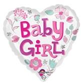 "Baby Girl Heart 18"" Foil Balloon"