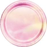 Iridescent Pink 22cm Paper Plates 8pk