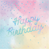 Pastel Iridescent Birthday Napkins 16pk