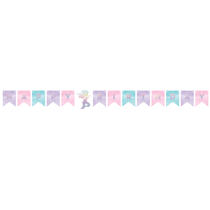 Iridescent Shaped Birthday Mermaid Banner With Twine