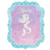 Iridescent Mermaid Postcard Invitations & Envelopes 8pk