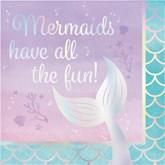 Iridescent Mermaid Tail Lunch Napkins 16pk