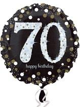 "70th Birthday Black & Gold Celebration 18"" Foil Balloon"