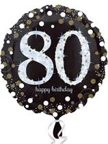 "80th Birthday Black & Gold Celebration 18"" Foil Balloon"