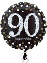 "90th Birthday Black & Gold Celebration 18"" Foil Balloon"