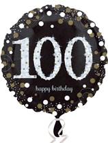 "100th Birthday Black & Gold Celebration 18"" Foil Balloon"
