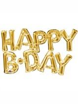"Gold Happy B-Day Foil 16"" Foil Balloon Kit"