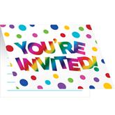 Rainbow Foil Folded Invitations & Envelopes 8pk