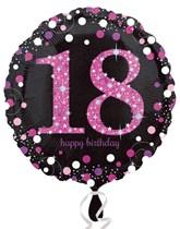 "18th Birthday Black & Pink Celebration 18"" Foil Balloon"