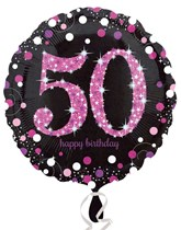 "50th Birthday Black & Pink Celebration18"" Foil Balloon"