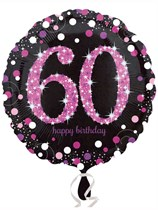 "60th Birthday Black & Pink Celebration 18"" Foil Balloon"