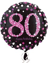 "80th Birthday Black & Pink Celebration 18"" Foil Balloon"