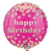 """Gold Dots Happy Birthday Pink 18"""" Foil Balloon"""