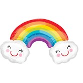 Rainbow With Smiley Clouds SuperShape Foil Balloon