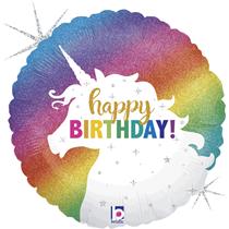 """Glitter Unicorn Birthday 36"""" Holo Foil Balloon"""