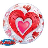 "Red Heart & Filigree 22"" Bubble Balloon"