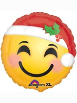 "Christmas Santa Emoji 18"" Foil Balloon"