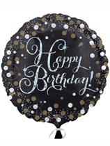 "Happy Birthday Black & Gold Celebration 18"" Foil Balloon"