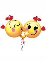 "Valentine's Day Emojis in Love 36"" Supershape Foil Balloon"