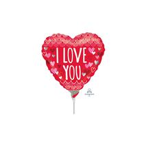 Valentine's Love You Mini Shape Heart Foil Balloon