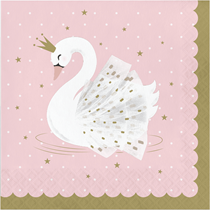 Stylish Swan Party 2-ply Lunch Napkins 16pk