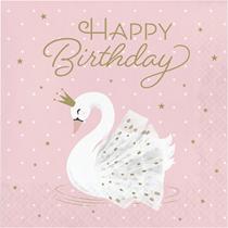 Stylish Swan Party Happy Birthday Lunch Napkins 16pk