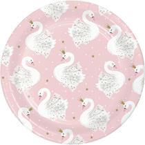Stylish Swan Party 18cm Paper Plates 8pk