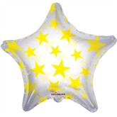 """Yellow Clear View Star Shaped 22"""" Foil Balloon"""