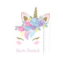 Unicorn Baby Pop Up Invitations & Envelopes 8pk